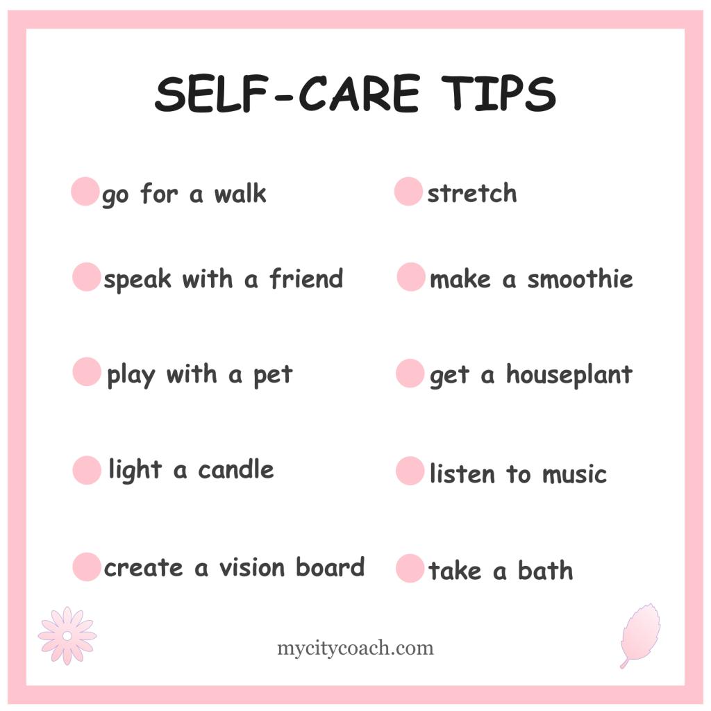 self-care tips by mycitycoach.com